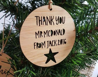 Personalised Wood Christmas Decoration / Ornament for Teacher / Star