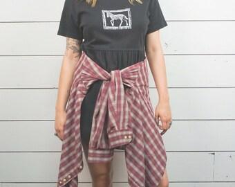 90's Black Cotton Skater Dress