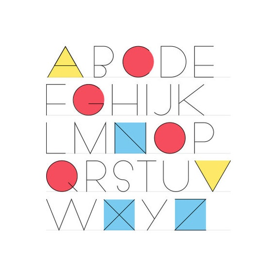 Geometrica Sans shapes alphabet print