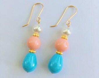 Swarovski pearl earrings, Swarovski pink coral earrings,swarovski turquoise pearl earrings