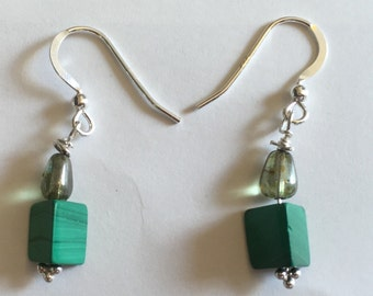 Handmade upcycled green beaded silver earrings