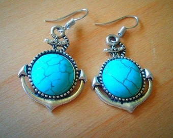 turquoise anchor earings