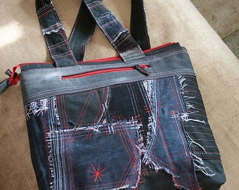 "Denim bag ""Black and red"""