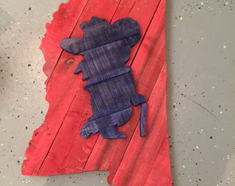 Ole Miss wall hanging made from repurposed wood. Mississippi with Colonel Reb mounted on the middle