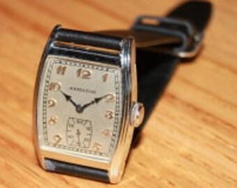Hamilton Webster Masculine Art Deco Vintage 1930s 14k White Gold Filled  Watch