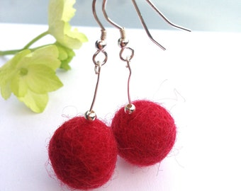 Felted merino wool and sterling silver earrings