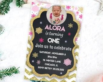 Winter Birthday invitation Printable first birthday invite kids first birthday winter invitations, kids winter invites, birthday invitation