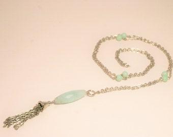 Long Mint Tassle Necklace