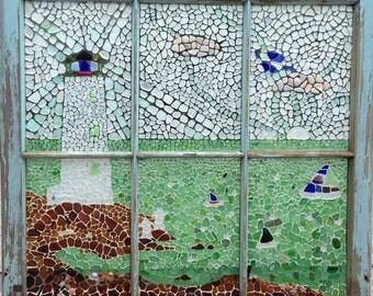 Seaglass Mosaic - Nova Scotia Lighthouse