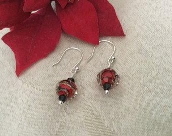 Murano Glass RedEarrings, Sterling Silver Earrings, Lampwork Glass Earrings, Red Glass Earrings, Glass Earrings, Red Earrings