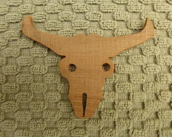 Redwood Longhorn Scull silhouette hand cut from reclaimed old growth stump in Humboldt California