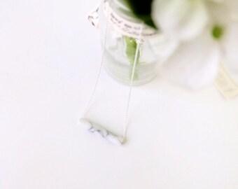 white marble tube necklace
