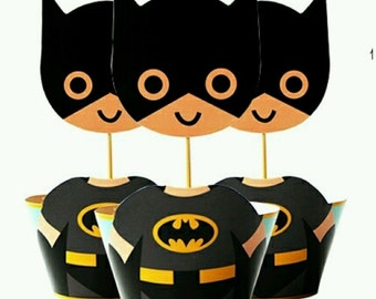 24 Pieces, 12 Batman Cupcake Wrappers + 12 Toppers Birthday Party