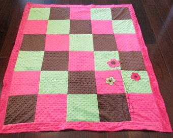 Baby Blanket, Toddler, Kids, Young Girl, Minky Blanket, Pink/Brown/Green, Flowers