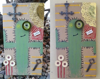 Cactus mixed media wall decor//Altered art//suffer//acrylic//decor//Arizona//Vintage Key