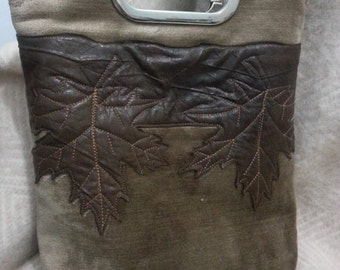 Velour leather applique bag