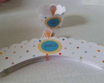 12 Ice Cream Cupcake wrappers  _ Cupcake holder