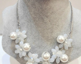 White Flowers with Pearls Statement Necklace