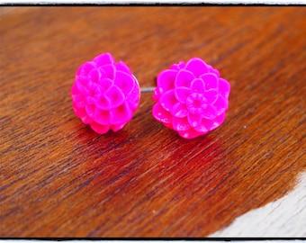 Fluorescent Pink Chrysanthemum Stud Earrings.