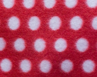 Red and White Polka Dot Print Fleece Fabric by the yard