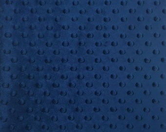 Minky Dimple Dot Fabric By The Yard Navy (W1)