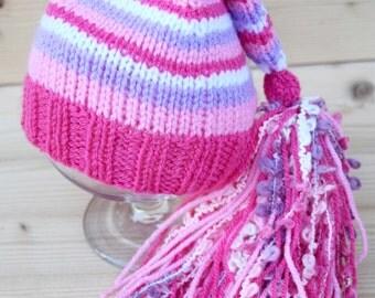 Newborn Elf Hat, Knitted Baby Girl Hat, Knit baby hat, Striped Elf hat with tassel, Photo prop
