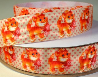 "1"" Kitten and Hearts - Grosgrain Ribbon"