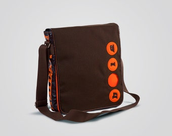 Cordura pouch with Holearound and genuine leather-100% Made in Italy-brown/orange