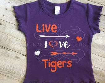 Girls Clemson Tee, Live, Love, Tigers