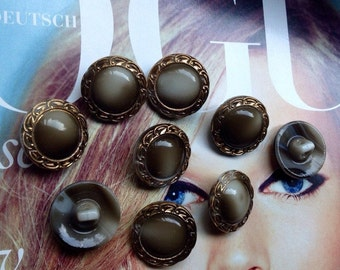 10 black collector glassbuttons - vintage buttons - golden handpainted in Germany in the fifties
