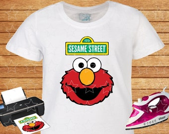 Elmo on T-shirt Sesame Street. Iron on Transfer, Instant Download. Elmo on T shirt. Sesame Street on t-shirt. Shirts for Kids.