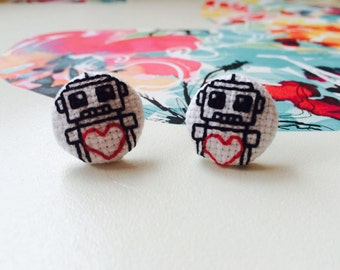 Cross Stitch Robot Earrings - Stud Earrings