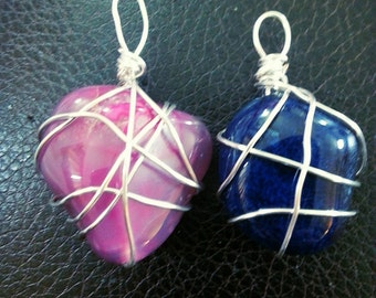 Wire Wrapped Non Tarnish Howlite Stones Blue and Fuchsia