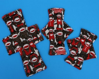 Sock Monkey Cloth Pad  / 4 sizes to choose from