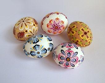 Set of 5 Mixed Easter Eggs Hand Decorate Madeira Lace Egg Housewarming Gift Pysanky Painted Egg Ukrainian Easter Egg  Folk Art FREE Shipping