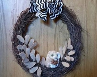Rustic Flower and Owl Wreath