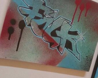 Custom artist/graffiti text - abstract art, abstract,  art, painting, wall art, wall painting, canvas art, stretched canvas, mixed media