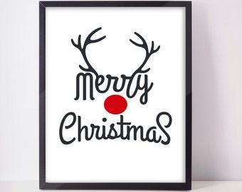 Merry Christmas - Christmas Printable - Rudolph Christmas Print - Red Nose Wall Art - Christmas Gallery Wall Art