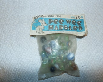 Old Vintage PEE WEE Glass Small Mini Colorful Marbles in original sealed 15 cent package made in the USA