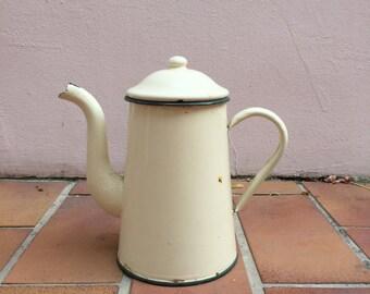Vintage French Enamelware Beige Enamel Thea - water Pot - coffee
