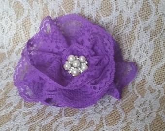Purple Lace Flower Fascinator