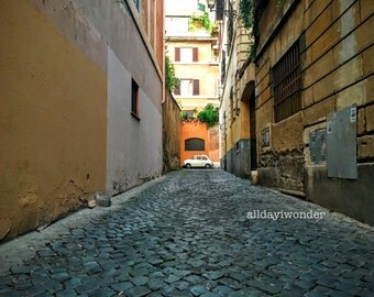alley in neighborhood of trastevere in rome, italy wall art photography