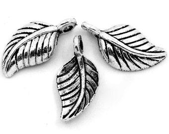 """10 trailer """"leaf"""" - 15 * 7.5 mm - antique silver / B1 - 0035"""