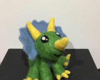needle felted wool triceratops