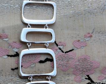 Fossil Bracelet Wide Openwork Chainlink Silver Tone