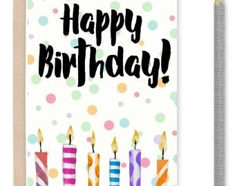 Printable happy birthday card candles