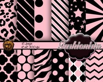 pink and black digital paper, pink and black background, pink and black scrapbook