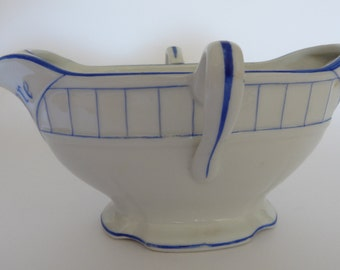 Blue and white hand painted porcelain sauce boat gravy boat , circa 1930