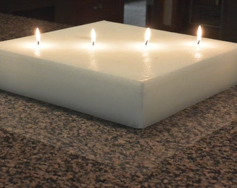 Custom hand poured 15 x 15 square candle with multi wicks