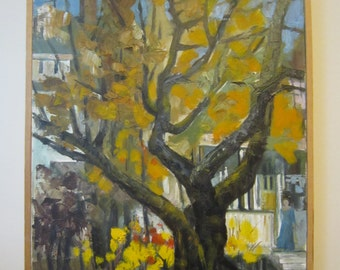 Original oil painting oil on canvas - Free shipping - tree autumn yellow woman in blue dress buildings landscape cityscape impressionism